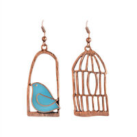 Unique Design Top Quality Retro Bird and Birdcage Shape Women Dangle Earrings