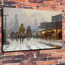"Art Quality Canvas Print Oil Painting Town, The American West A5891,16""x20"""