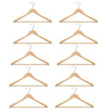 10 Pcs Wooden Clothes Hanger Wardrobe Storage Unisex Trouser Top Shirt Gloss