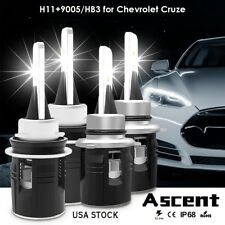 4x H11 9005 Hb3 Highpower Led Headlight Bulbs 6000K For Chevrolet Cruze 2016
