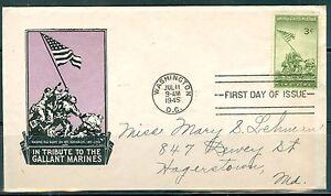 US FDC 929 Riasing Old Glory Iwo jima Cancel.Washington DC.Jul.11- 1945 Addr