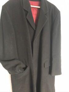 GENUINE ORIGINAL BLACK GENTS CROMBIE OVERCOAT 44 inch Chest Made - Wool/Cashmere
