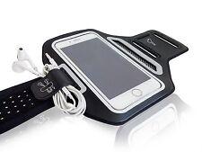 "Universal Smartphone 4.7"" White Lycra Armband Sports Reflective Headphone Tie"