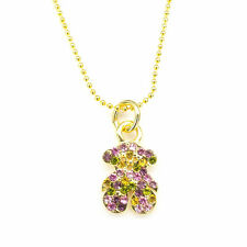 Multicolor Pendant Necklace Teddy Bear Shaped Jewelry 18k GP Crystal Chain Pets
