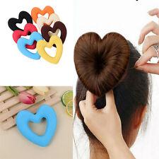 1Piece Cute Girls Hair Donut Bun Heart Maker Magic Foam Sponge Hair Styling Tool