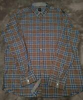 Hugo Boss Regular  Fit Men's Button Down Long Sleeve Shirt Sz 2XL Brown Plaid
