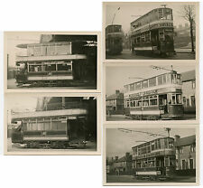 IRELAND BELFAST TRAMS VINTAGE ORIGINAL REAL PHOTO 5 CARDS  1930s-40s
