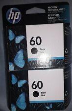 2 - New Genuine HP 60 Black  Ink Cartridges (10/21)