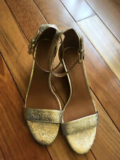 New! Tory Burch 'Savannah' Wedge Sandals Gold Leather Womens Size 7.5M MSRP $250