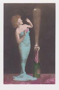 PHOTO POSTCARD BELLE EPOQUE FEMME FATALE 1900 ADOLF ENGEL BERLIN HAPPY NEW YEAR