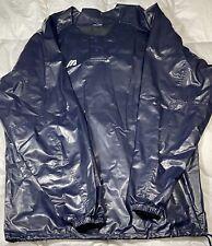 Mizuno Mens Rain Jacket Navy Side Drawstring Snaps Button Shiny Pullover