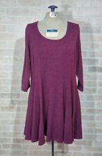 Torrid Plus size 1 1X Sweater Skater Dress Wine Burgundy Merlot Fit Flare Solid