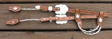 Western Silver Show Headstall - Fine Silver Ferrule - Light Oil Leather
