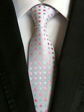 XT039 man's neck tie silk wedding party grooms colorful white polka dots ties