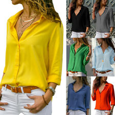 Women's V Neck Button Blouse Work Shirts OL Casual Long Sleeve Tops Plus Size