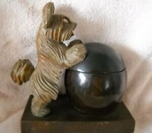 Antique Carved Dog Themed Inkwell Stand - Black Forest?