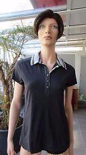 NAPAPIJRI - figurnahes Poloshirt, dunkelblau mit hellblauem Kragen, Patch, Gr. S