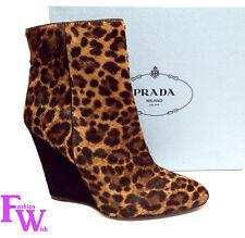 New PRADA Size 8 Wedge Leopard Jaguar Calf Hair Ankle Bootie Boots 38.5