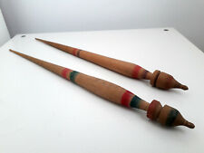 2 antique Romanian traditional wood spindle spinning wool peasant folk tools