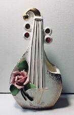 Lefton China Vtg Violin Fiddle Vintage Wall Pocket Roses Gold White Pink Japan