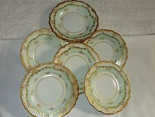 6 Elite Limoges Double Gold Appetizer Canape Plates