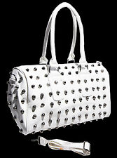 Top modische Damen Tasche, Handtasche, Schultertasche mit Nieten, Weiß