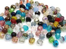100 Böhmische Glasschliffperlen 4mm Mix Kugel Glasperlen Glassbeads #3005
