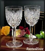 Antique St Louis Florence Cut Crystal Burgandy Wine Glasses Hand Blown Set 2
