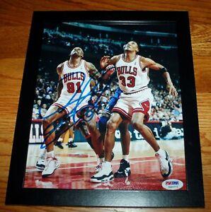 DENNIS RODMAN HOF CHICAGO BULLS SIGNED FRAMED 8x10 NBA BASKETBALL PHOTO PSA COA