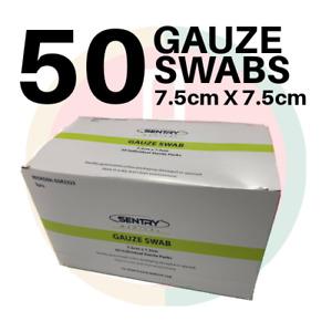 1 x BOX 50 STERILE WHITE GAUZE SWABS FIRST AID 7.5cm x 7.5cm 8 PLY / 3PK