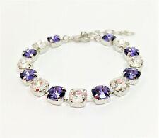 Purple Crystal Silver Bracelet Statement Tennis Women Birthday Gift Boxed