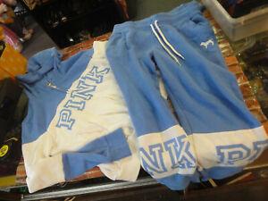 Victorias Secret PINK blue & white juniors M zippered hoodie & sweat pants set