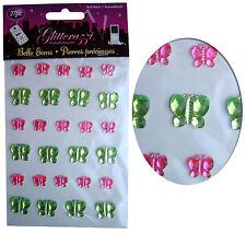 Karte Machen Sticker Bogen, Schmetterling x27, Strassstein Verzierung Grün/Pink