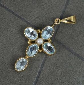 9 Carat Gold Aquamarine and Seed Pearl Cross Pendant