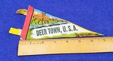"""Vintage Mini Felt Pennant - Deer Town USA - 7"""" x 3.5"""""""