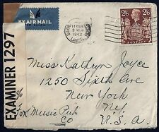 Uk Gb Us 1942 War Time Censored Cover Bearing King George Vi Sc 249 To New York
