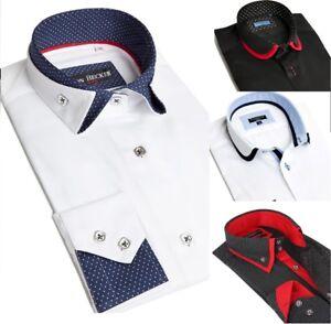 New Mens Italian Double Collar Slim Fit Shirt Round/Folding Collar Long Sleeve