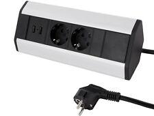 Aluminium Aufbausteckdose mit Kabel - 2x 230V - 2x USB 5V - Eck Steckdose Küche