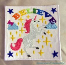 Embroidered White Unicorn Rainbow I Believe Fantasy Fairytales Patch Iron On USA