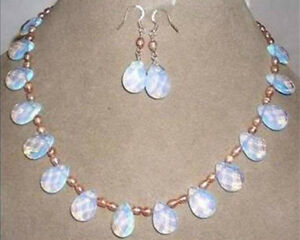 """Real natural Pink pearl & opal necklace & earring jewelry set 18"""""""