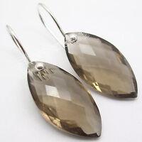 925 SOLID Sterling Silver SMOKY QUARTZ Earrings JEWELRY