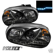 1999-2005 VOLKSWAGEN GOLF IV DRL LED PROJECTOR HEADLIGHTS LIGHTBAR LIGHT BLACK