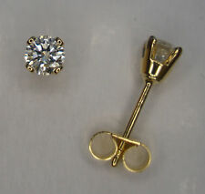 PAIR 1/2CT ROUND DIAMOND 4 CLAW STUD EARRINGS 18CT YELLOW GOLD SCROLLS BOX 750