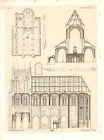 1857 Große Architektur Aufdruck Oberwesel Kathedrale Mittelalterlich Gothic Art