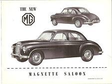 MG  Single Sheet    Magnette   Saloon    1954