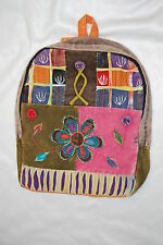 Orange Back PATCHWORK Hobo BACKPACK Embroidered FLOWERS Girls Pink Purple