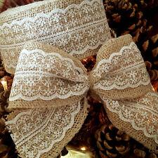 60mm Woven Edge Hessian, Burlap, Jute White or Ivory Lace Ribbon Vintage Wedding