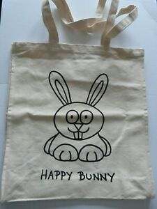 Happy Bunny Natural 100%Cotton Eco Friendly Shopping Shoulder Tote Shopper Bags