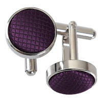 Cadbury Purple Mens Cufflinks Plain Solid Check Silver Plated Cuff Links by DQT
