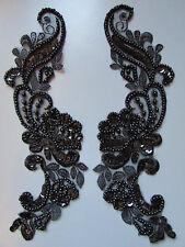 Negro Con Cuentas Lentejuelas Apliques Bordados X 2 Costura/Disfraz/artesanía/Bridal